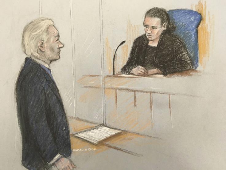 Julian Assange and Vanessa Baraitser by Elizabeth Cook